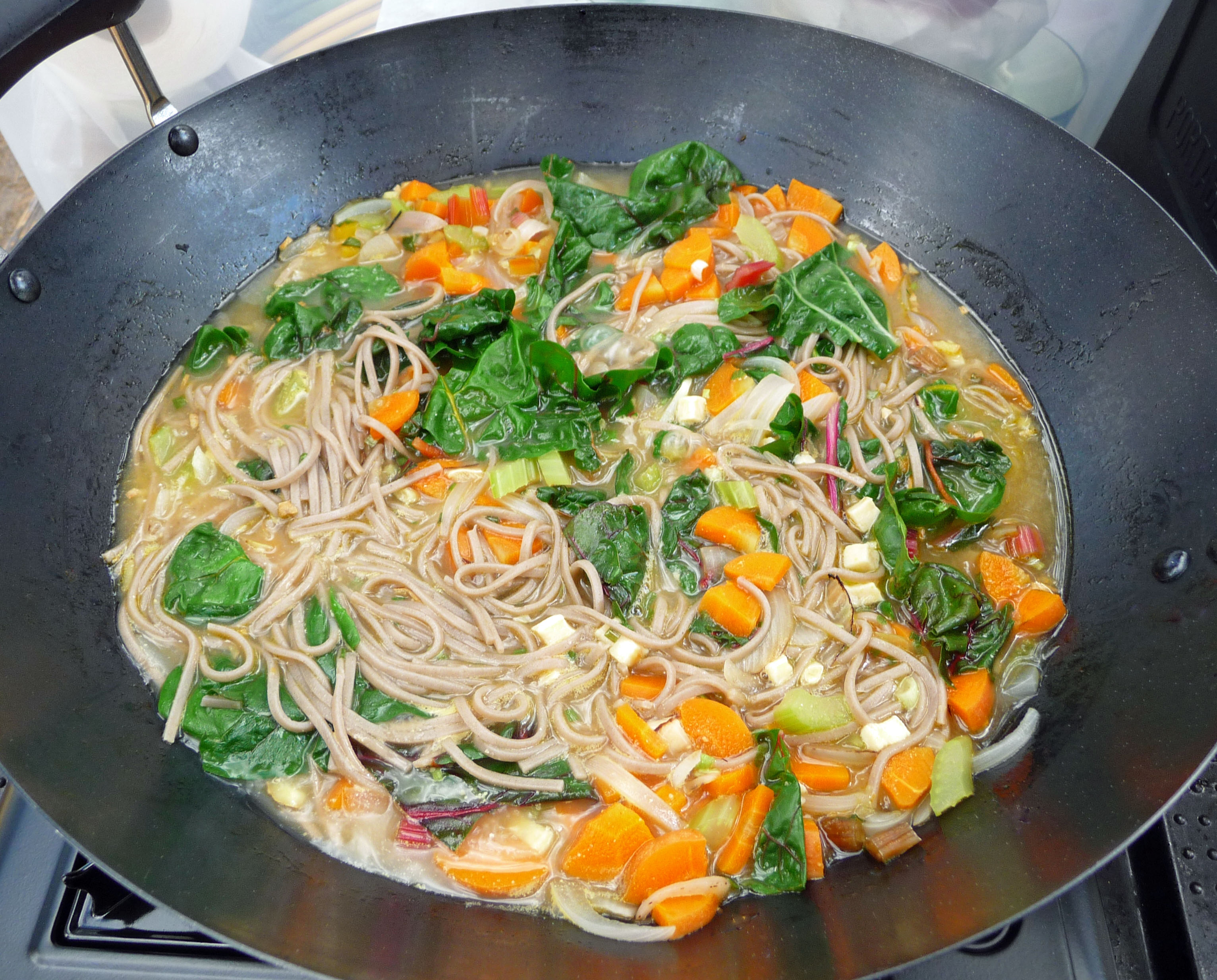 Miso Soup With Vegetables And Soba Noodles