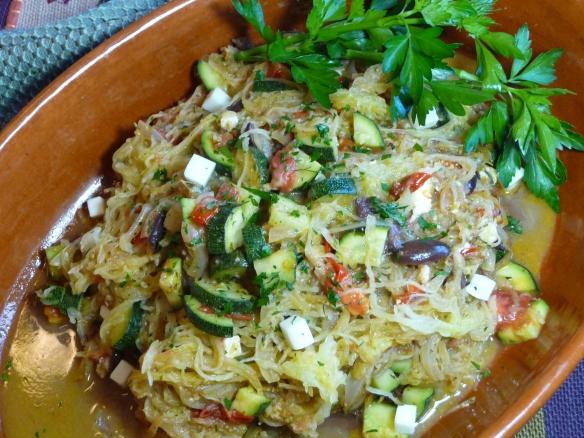 Spaghetti squash with sauteed veggies, kalamata and feta (c) jfhaugen