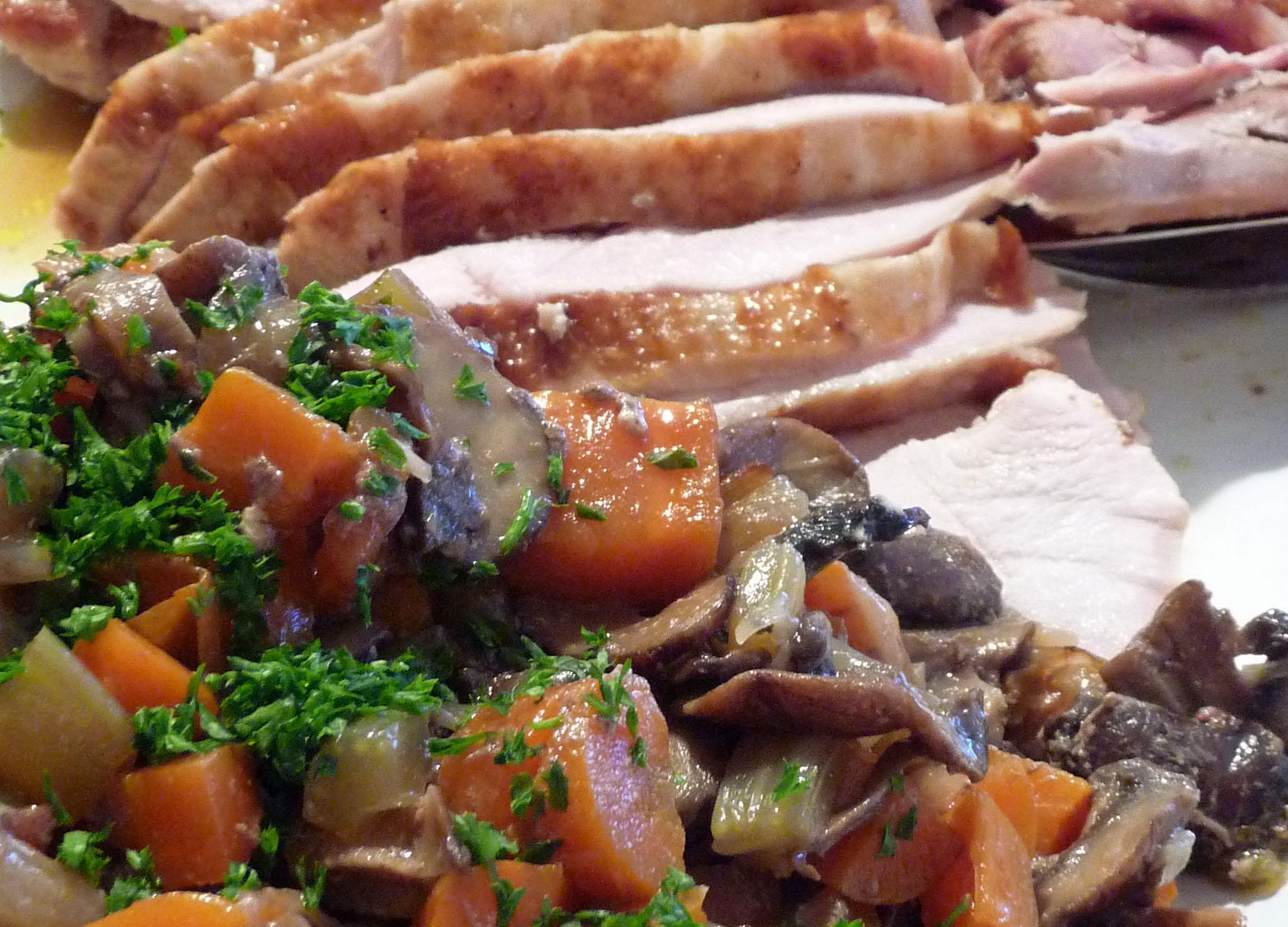 Braised Turkey w fresh herbs, wild mushrooms, veggies (c) jfhaugen