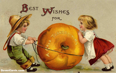 A Vintage Thanksgiving Card or Two Children with a Pumpkin