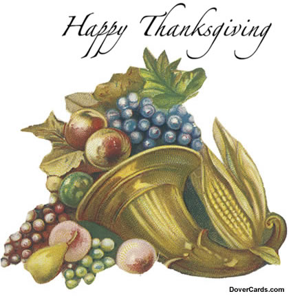 Vintage Thanksgiving Card of a Golden Cornucopia of Fruit and Corn
