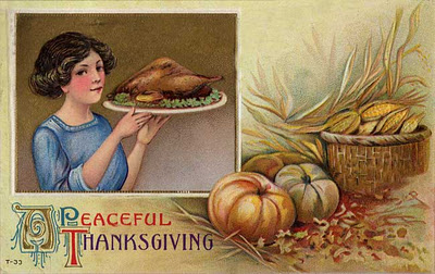 Vintage Greeting A girl serving the turkey with wishes for A Peaceful Thanksgiving