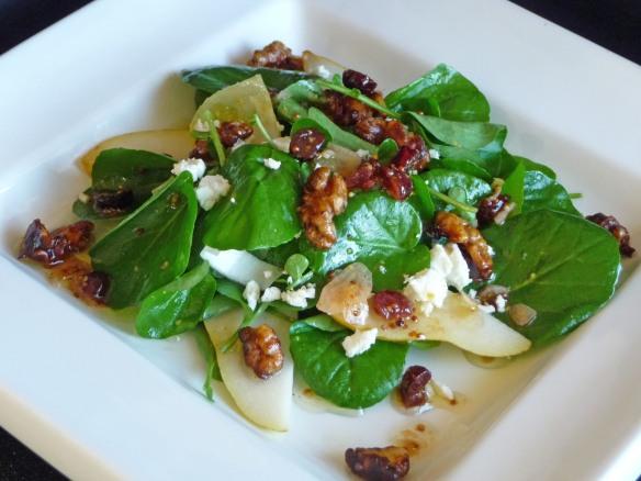 Watercress, Endive, Pear Salad w Goat Cheese, shallot Mustard Vinaigrette & Maple-Glazed Walnuts (c) jfhaugen