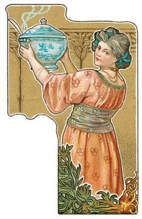 Woman Holding Steaming Soup Tureen (Dover Image)