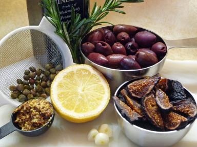 Fig, Black Olive and Walnut Tapenade ingredients (c) jfhaugen