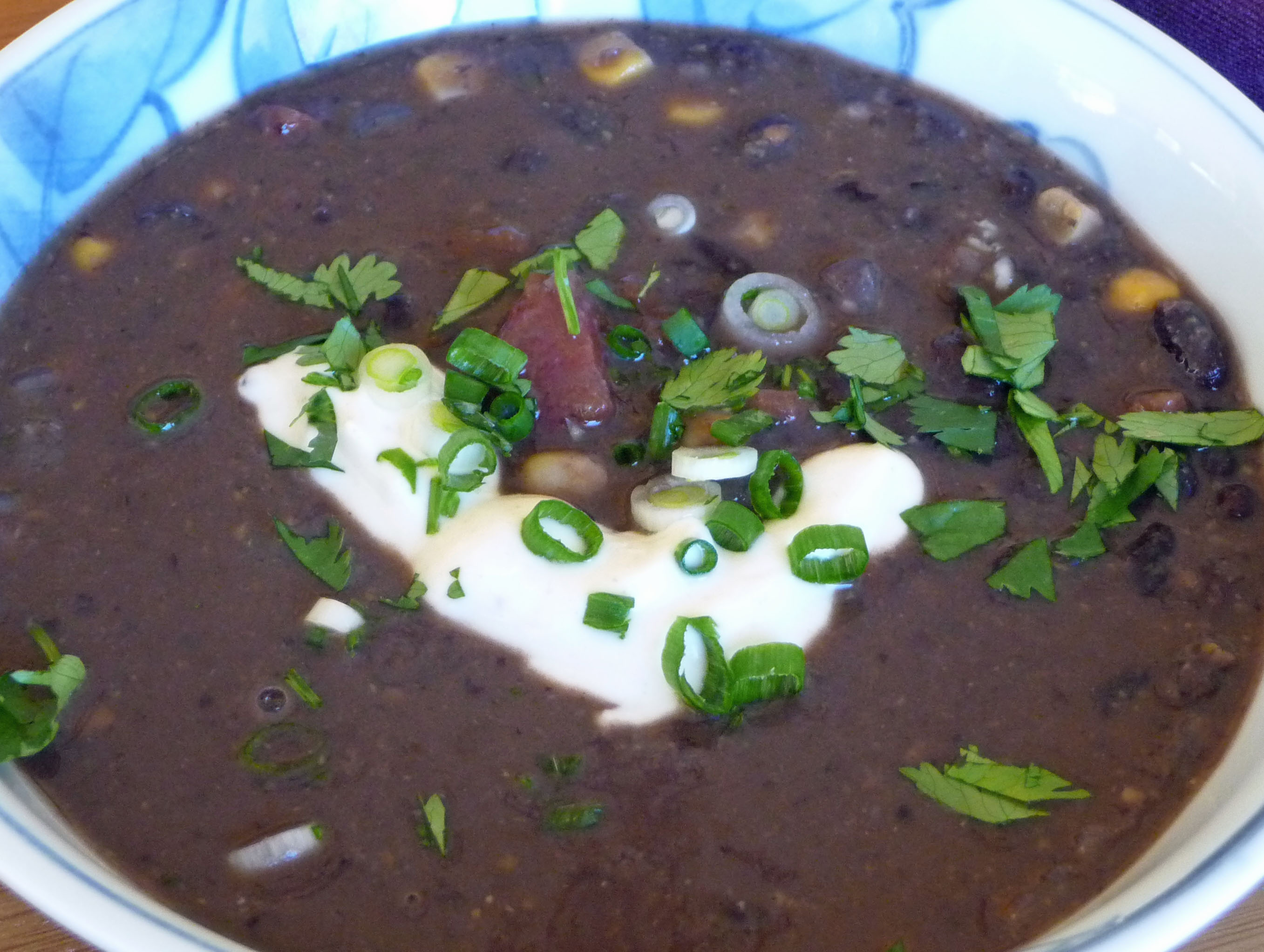 Black Bean Soup w/ Garnishes (c) jfhaugen