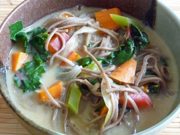 Creamy Miso Vegetable, Greens & Soba Noodle Soup (c) jfhaugen
