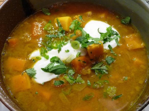 Curried Red Lentil & Sweet Potato Soup (c) jfhaugen