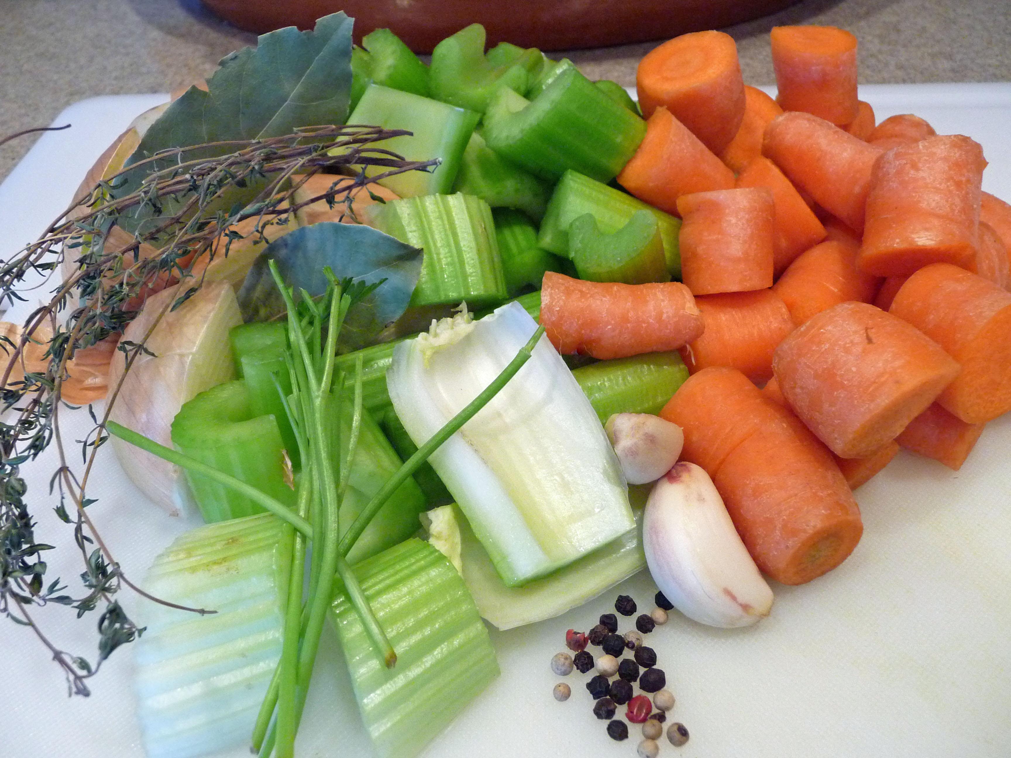 Vegetables & Herbs for Chicken Stock (c) jfhaugen
